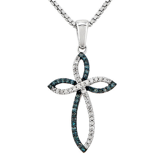 1b5c463cd603 1 5 CT. T.W. White and Color-Enhanced Blue Diamond Sterling Silver Cross  Pendant Necklace - JCPenney