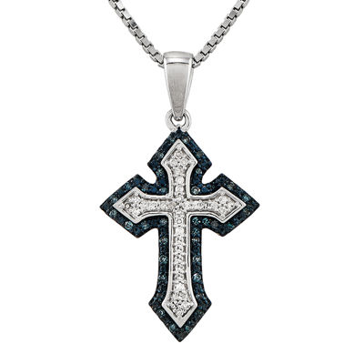 1/5 CT. T.W. White and Color-Enhanced Blue Diamond Sterling Silver Cross Pendant Necklace