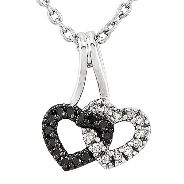1/8 CT. T.W. White and Color-Enhanced Black Diamond Sterling Double Heart Pendant Necklace