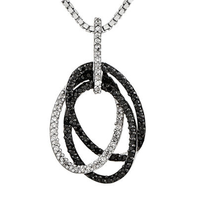 1/4 CT. T.W. White and Color-Enhanced Black Diamond Sterling Silver Oval Pendant Necklace
