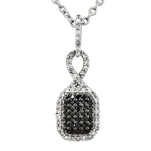 1/4 CT. T.W. White and Color-Enhanced Black Diamond Sterling Silver Fashion Pendant Necklace