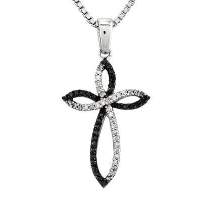 1/5 CT. T.W. White and Color-Enhanced Black Diamond Cross Pendant Necklace