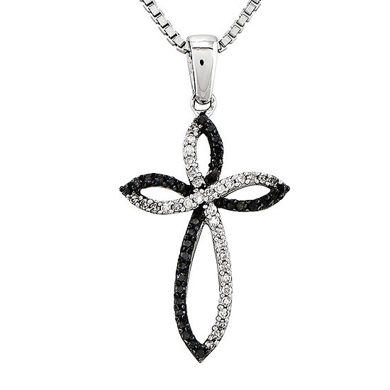 1/5 CT. T.W. White and Color-Enhanced Black Diamond Cross Pendant Necklace
