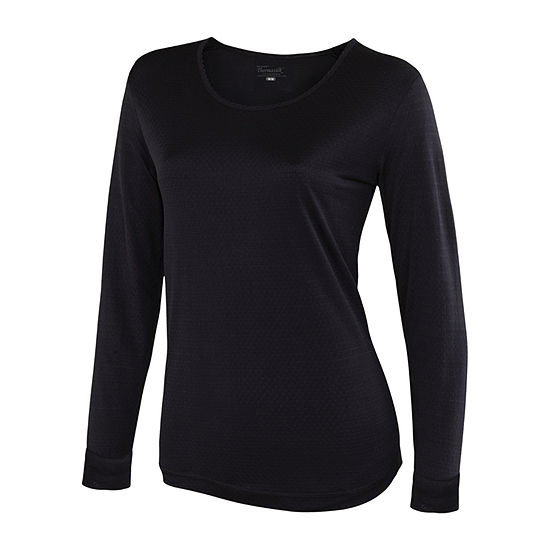 Thermasilk® Pointelle Scoop Long Sleeve Top