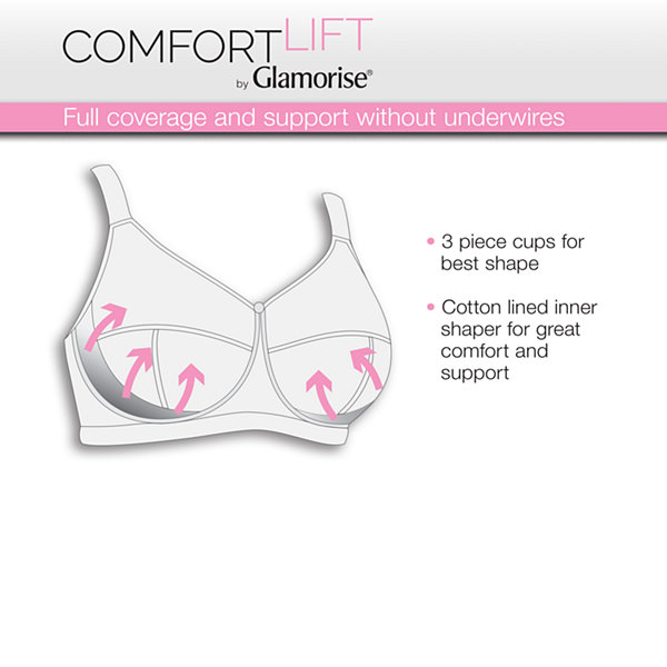 Glamorise Comfort Lift Classic Lace Support Wireless Full Coverage Bra-1102