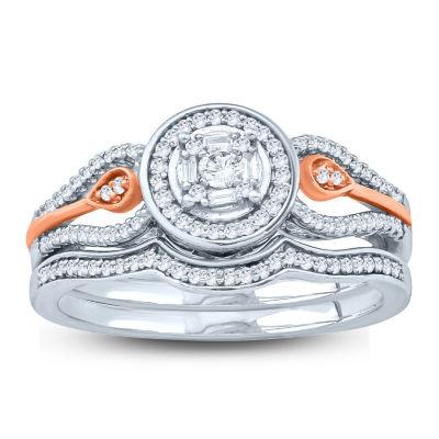 Womens 1/4 CT. T.W. Genuine White Diamond 10K Gold Bridal Set