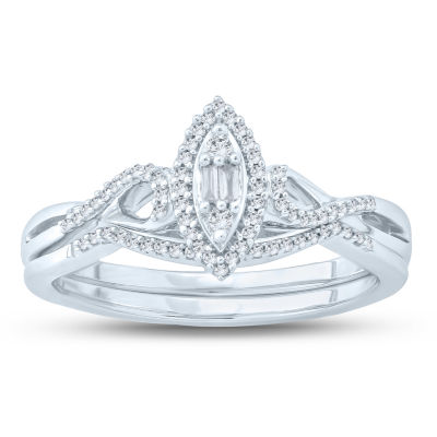 Womens 1/6 CT. T.W. White Diamond 10K Gold Bridal Set