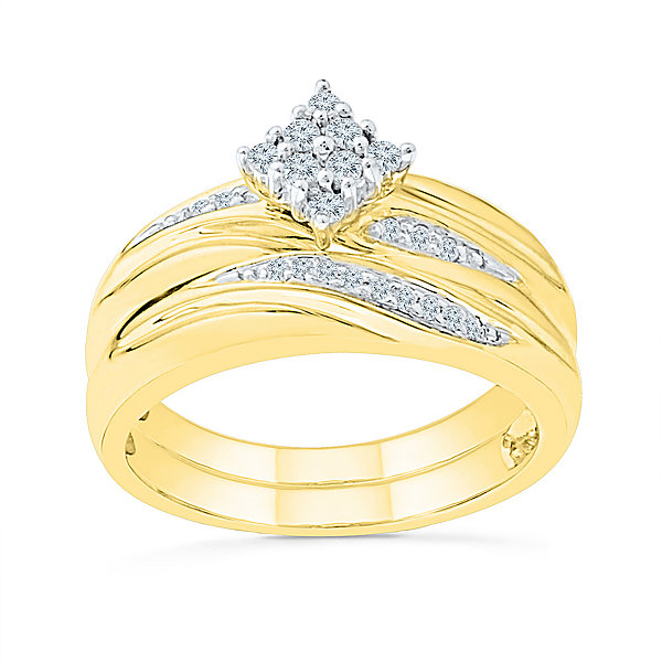 Womens 1/6 CT. T.W. Genuine White Diamond 10K Gold Bridal Set