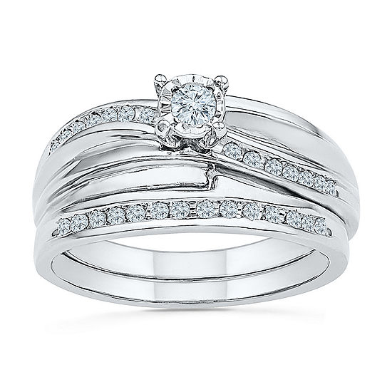 Womens 1/5 CT. T.W. Genuine White Diamond Sterling Silver Bridal Set