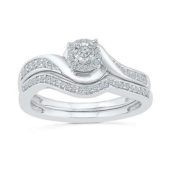 Womens 1 5 Ct Tw Genuine White Diamond Sterling Silver Bridal Set