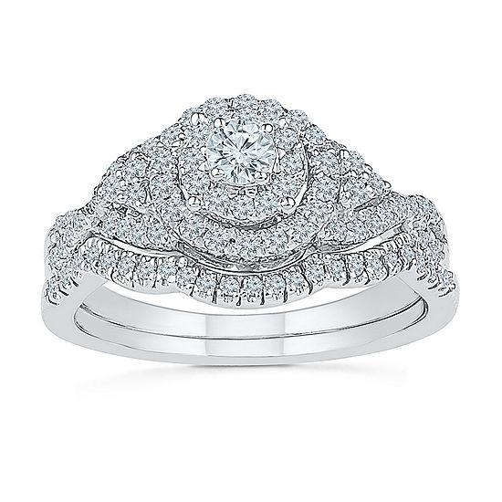 Womens 5/8 CT. T.W. Genuine White Diamond 10K White Gold Bridal Set