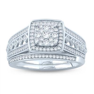 Womens 1/2 CT. T.W. White Diamond Sterling Silver Bridal Set