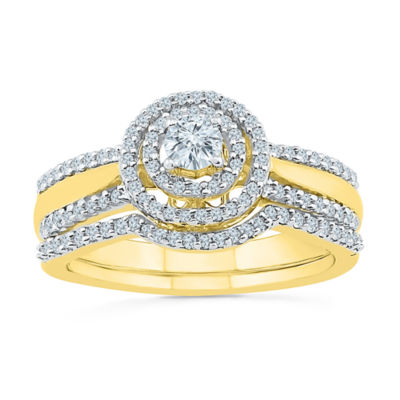 Womens 1/2 CT. T.W. White Diamond 10K Gold Bridal Set