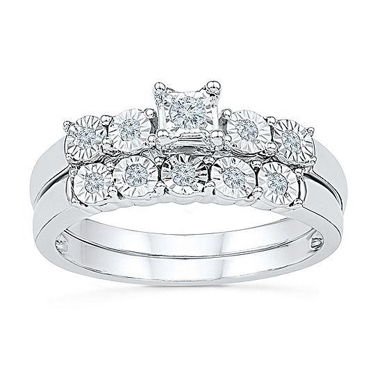 Womens Diamond Accent Genuine White Diamond Sterling Silver Bridal Set