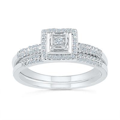 Womens 1/3 CT. T.W. Genuine White Diamond Sterling Silver Bridal Set