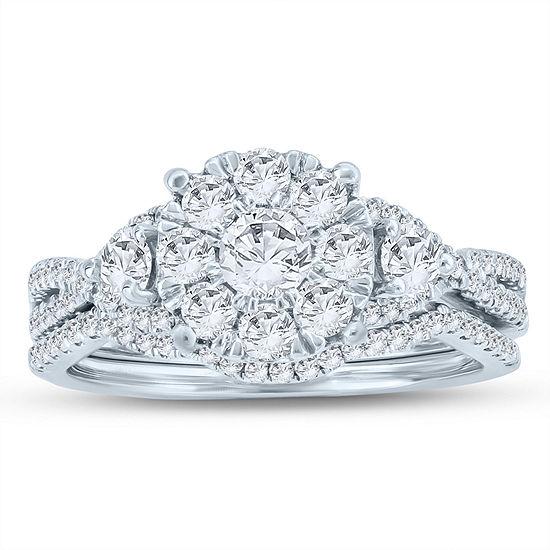 Womens 1 1/4 CT. T.W. Genuine White Diamond 10K Gold Bridal Set