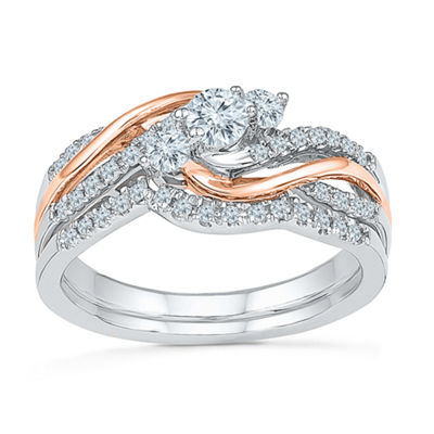 Womens 1/2 CT. T.W. Genuine White Diamond 10K Rose Gold Sterling Silver Bridal Set