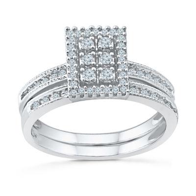 Womens 1/3 CT. T.W. Genuine White Diamond 10K White Gold Bridal Set
