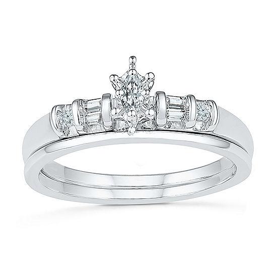 Womens 1/5 CT. T.W. Genuine White Diamond 10K White Gold Bridal Set