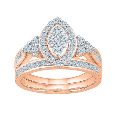 Womens 1 CT. T.W. Genuine White Diamond 10K Rose Gold Bridal Set