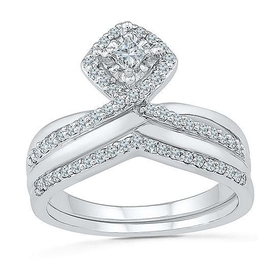 Womens 3/8 CT. T.W. Genuine White Diamond 10K White Gold Bridal Set