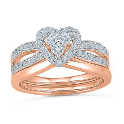 Womens 5/8 CT. T.W. Genuine White Diamond 10K Rose Gold Bridal Set