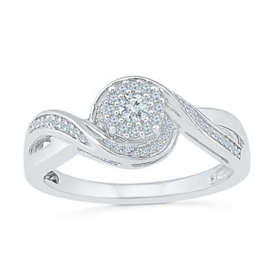 Promise My Love Womens 1/5 CT. T.W. Genuine White Diamond Sterling Silver Round Promise Ring