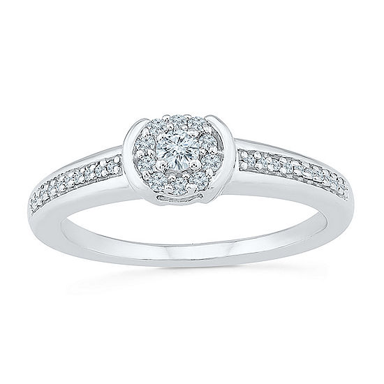 Promise My Love Womens 1 5 Ct Tw Genuine White Diamond Sterling Silver Round Promise Ring