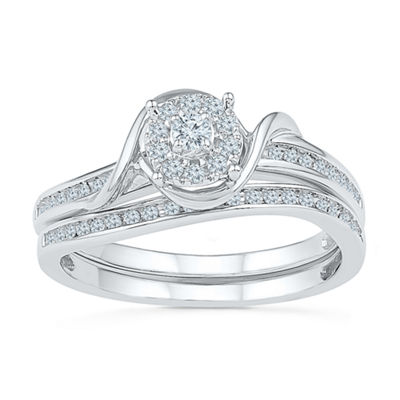 Promise My Love Womens 1/4 CT. T.W. Genuine White Diamond Round Promise Ring