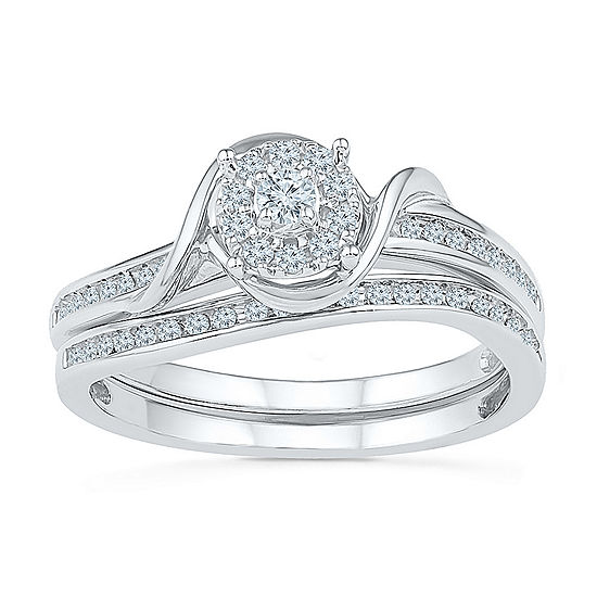 Promise My Love Womens 1 4 Ct Tw Genuine White Diamond Sterling Silver Round Promise Ring