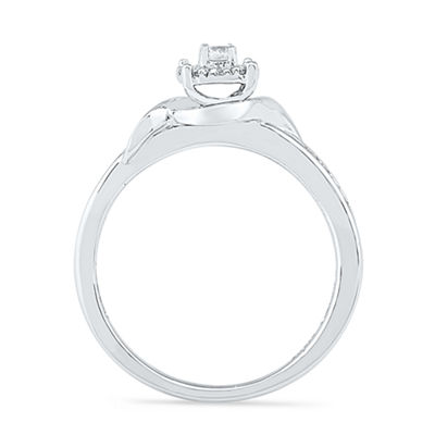 Promise My Love Womens 1/4 CT. T.W. Genuine White Diamond Sterling Silver Round Promise Ring