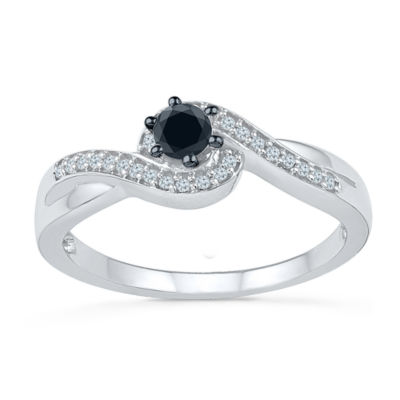 Promise My Love Womens 1/5 CT. T.W. Genuine Multi Color Diamond Sterling Silver Round Promise Ring