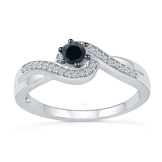 Promise My Love Womens 1/5 CT. T.W. Genuine Black Diamond Sterling Silver Round Promise Ring
