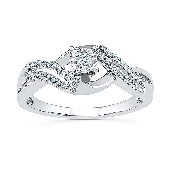 Promise My Love Womens 1/6 CT. T.W. Genuine White Diamond Sterling Silver Round Promise Ring