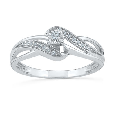 Promise My Love Womens 1/10 CT. T.W. Round White Diamond Sterling Silver Promise Ring