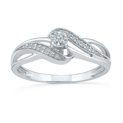 Promise My Love Womens 1/10 CT. T.W. Genuines White Diamond Sterling Silver Round Promise Ring