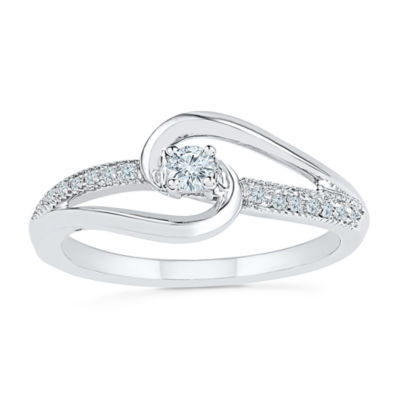 Promise My Love Womens 1/8 CT. T.W. Genuine White Diamond Sterling Silver Round Promise Ring