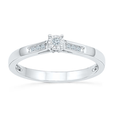 Promise My Love Womens Diamond Accent Genuine White Diamond Sterling Silver Round Promise Ring