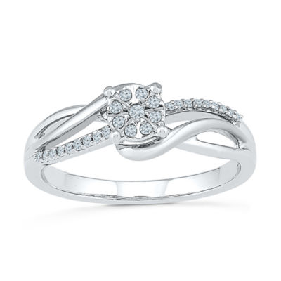 Promise My Love Womens 1/10 CT. T.W. Genuine White Diamond Sterling Silver Round Promise Ring