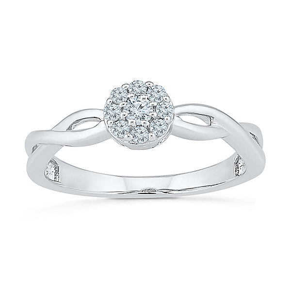 Fine Jewelry Womens 1/6 CT. T.W. Round White Diamond Sterling Silver Gold Over Silver Promise Ring ShHA6syr1