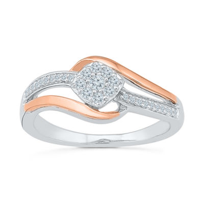 Promise My Love Womens 1/5 CT. T.W. Round White Diamond Sterling Silver Gold Over Silver Promise Ring