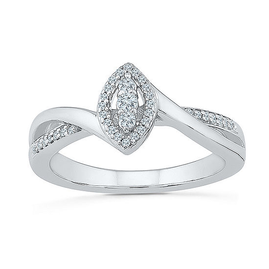 Promise My Love Womens 1/6 CT. T.W. Genuine White Diamond Round Promise Ring
