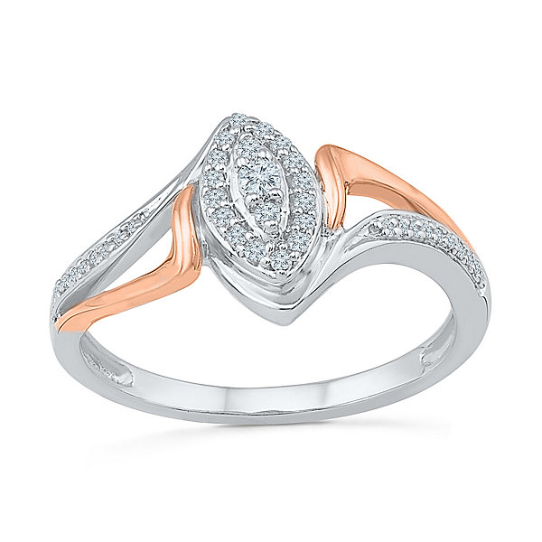 Promise My Love Womens 1/6 CT. T.W. Genuine Round White Diamond Sterling Silver Gold Over Silver Promise Ring