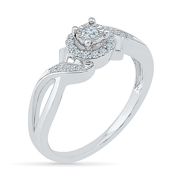 Promise My Love Womens 1/6 CT. T.W. Genuine Round White Diamond Sterling Silver Promise Ring
