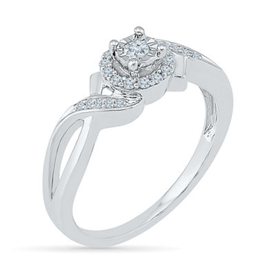 Promise My Love Womens 1/6 CT. T.W. Round White Diamond Sterling Silver Promise Ring