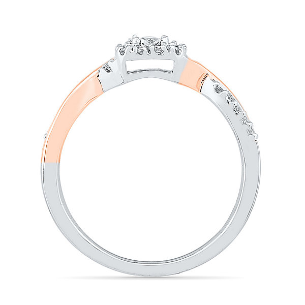 Promise My Love Womens 1/5 CT. T.W. Genuine Round White Diamond Sterling Silver Gold Over Silver Promise Ring