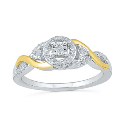 Promise My Love Womens 1/8 CT. T.W. Round White Diamond Sterling Silver Gold Over Silver Promise Ring