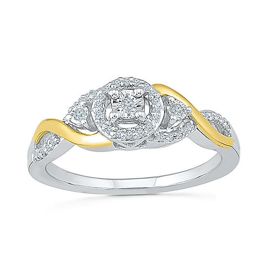 Promise My Love Womens 1/8 CT. T.W. Genuine White Diamond 10K Gold Sterling Silver Round Promise Ring