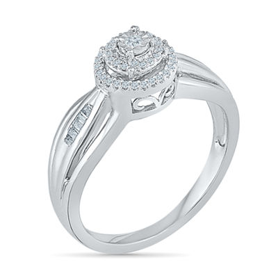 Promise My Love Womens 1/6 CT. T.W. Baguette White Diamond Sterling Silver Promise Ring