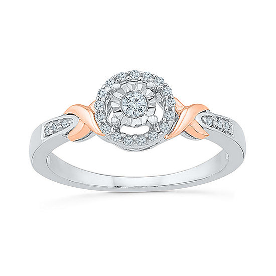 Promise My Love Womens 1/5 CT. T.W. Genuine White Diamond 10K Rose Gold Sterling Silver Round Promise Ring